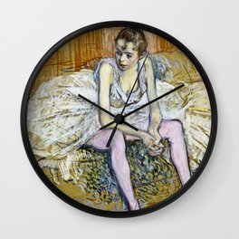 Henri De Toulouse Lautrec - A Seated Dancer With Pink Stockings Wall Clock