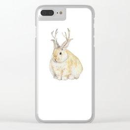 Watercolor Grumpy Jackalope Antler Bunny Clear iPhone Case