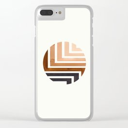 Raw Umber Circle Round Framed Mid Century Modern Aztec Geometric Pattern Maze Clear iPhone Case