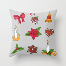 Christmas pattern (#2 grey) Throw Pillow