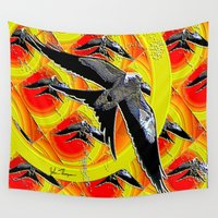 swallow Wall Tapestries featuring Swallow tailed Kite 4 by JT Digital Art