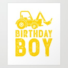 Birthday Boy Yellow Tractor Bulldozer Construction Party Art Print