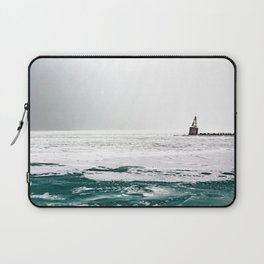 Winter in Chicago aka Chiberia; Ice Patches Float in Lake Michigan Laptop Sleeve