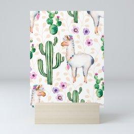 Cactus Flowers & Cute Lama pattern Illustration Mini Art Print