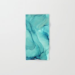 Turquoise Ink Waves Abstract Alcohol Ink Hand & Bath Towel