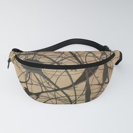 Pollock Inspired Abstract Black On Beige Fanny Pack