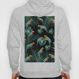 Parrots in the Tropical Jungle Night #2 #tropical #decor #art #society6 Hoody
