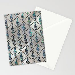 Treble Clef Abalone Shell pattern on mother of pearl Stationery Cards