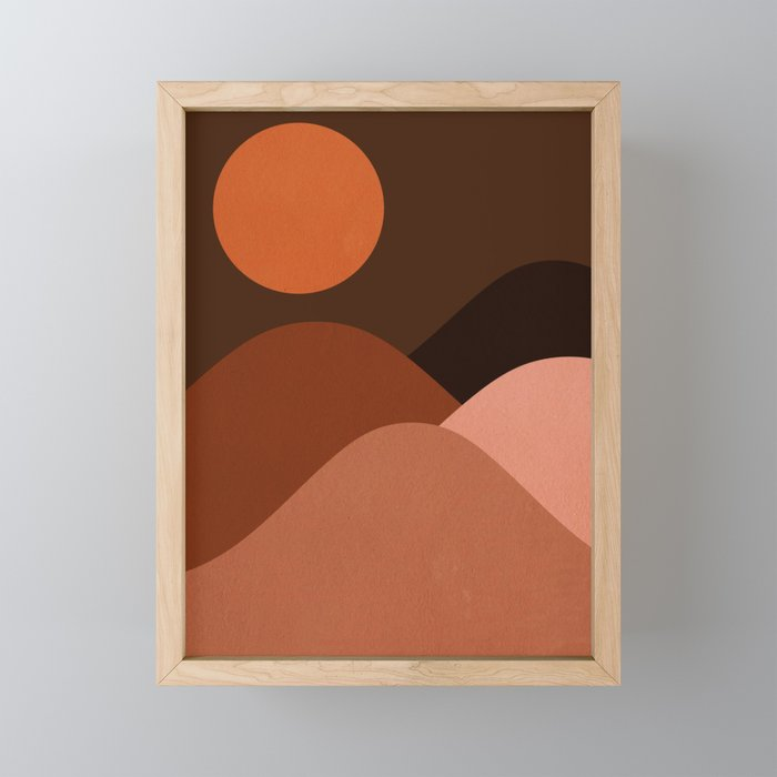 Abstraction_Mountains_SUN_MNIMALISM Framed Mini Art Print