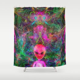 Kneel Before The Bubblegum Alien King (psychedelic) Shower Curtain