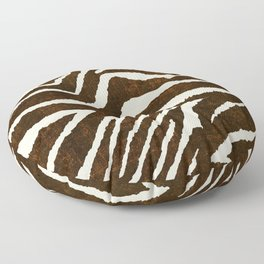 ANIMAL PRINT ZEBRA IN WINTER 2 BROWN AND BEIGE Floor Pillow