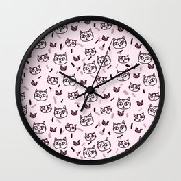 Baby Pink Meow Pattern Wall Clock