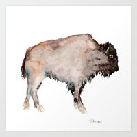 buffalo Art Prints featuring Buffalo by Elena Sandovici