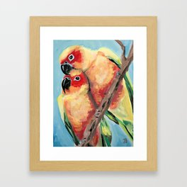 Peach Faced Lovebirds Framed Art Print