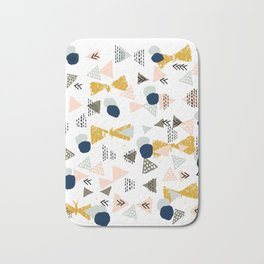 Minimal modern color palette navy gold abstract art painted dots pattern Bath Mat
