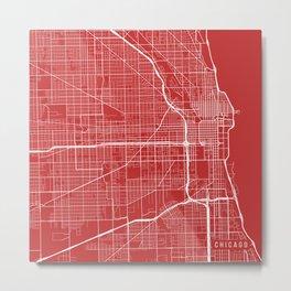Chicago Map, USA - Red Metal Print