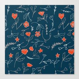 Orange pink pastel navy blue modern floral Canvas Print