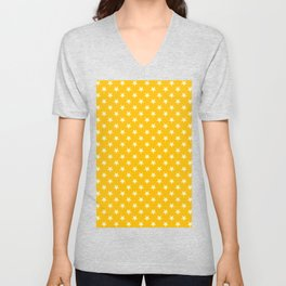 Cream Yellow on Amber Orange Stars Unisex V-Neck