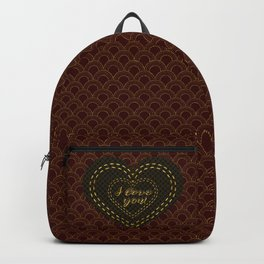 Royal Burgundy Gold Great Gatsby I love You typography Backpack