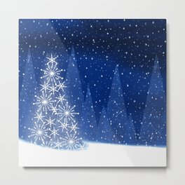 Snowy Night Christmas Tree Holiday Design Metal Print