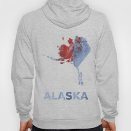 Alaska map outline Red blue steel colorful wash drawing design Hoody