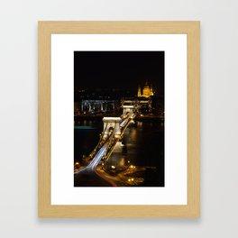 Szechenyi Chain bridge over Danube river, Budapest, Hungary. Framed Art Print