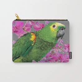 TROPICAL GREEN PARROT & FUCHSIA ORCHIDS  GREY ART Carry-All Pouch