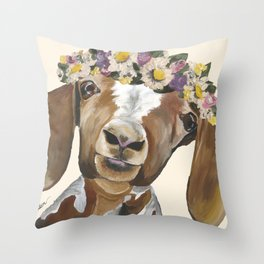 Goat Art, Flower Crown Goat Throw Pillow