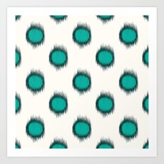 Ikat Dots Teal Art Print