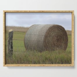 Kansas Hay Bale in a field with a fence Serving Tray