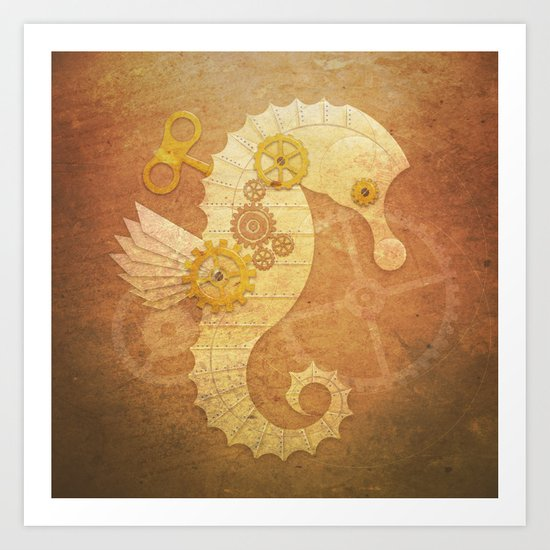 Steampunk seahorse Art Print
