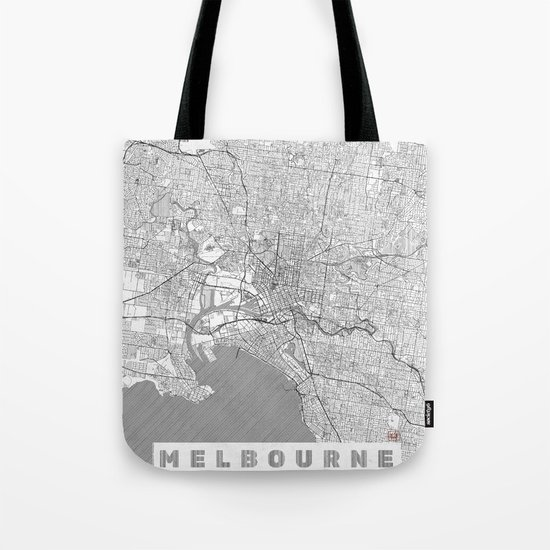 Melbourne Map Line Tote Bag