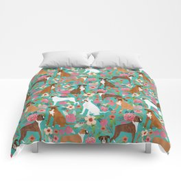 Boxer dog breed florals flower dog pattern gifts for pure breed lovers boxers Comforters
