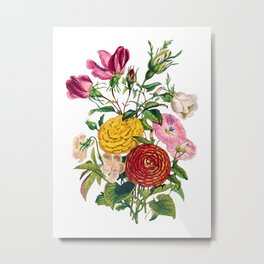 Blooming Roses, Zinnia, Morning Glory, Antique Heirloom Flower Bouquet Original Watercolor PNG 2 Metal Print