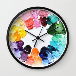 Color Wheel Polka Daubs Wall Clock