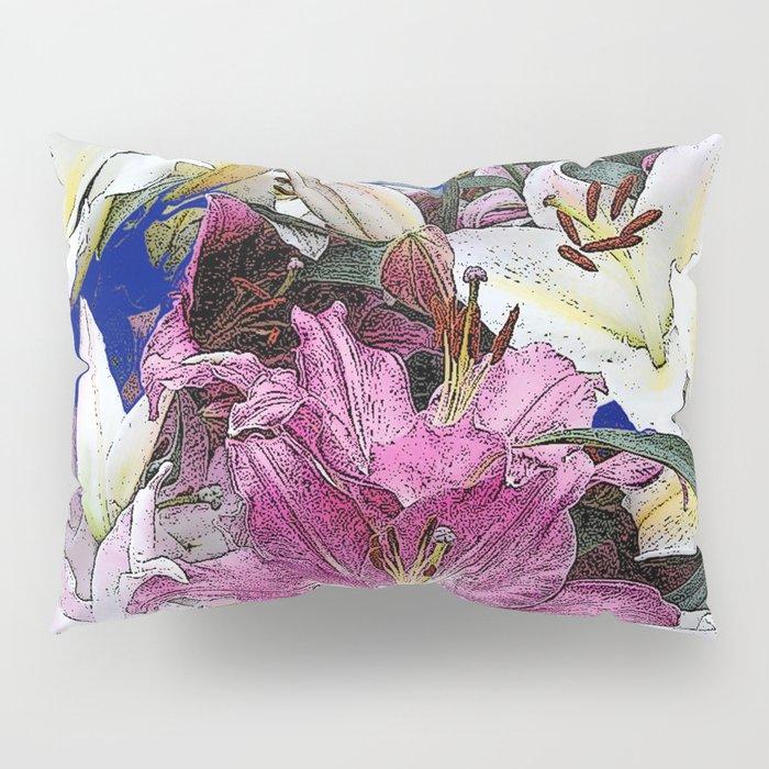 PURPLE & WHITE ASIAN GARDEN LILIES DRAWING Pillow Sham