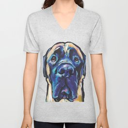 Fun ENGLISH MASTIFF Dog bright colorful Pop Art Painting by LEA Unisex V-Neck