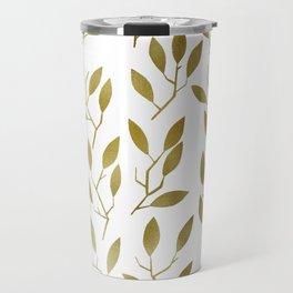 Leafy Twigs - Gold Travel Mug