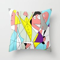nurse Throw Pillows featuring The nurse by Carmen Navajas
