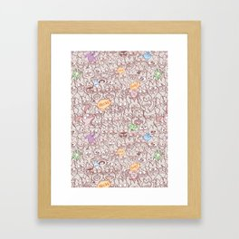 Seamless pattern world crowded with funny cats Framed Art Print