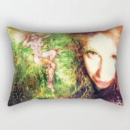 HOT SEXY FAIRY WITH GREEN WINGS NUDE BIG BREAST LADYKASHMIR ART PRINT  Rectangular Pillow