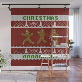 Ugly Christmas Sweater Scared Gingerbread Men Red Wall Mural