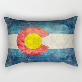 Colorado State Flag in Vintage Grunge Rectangular Pillow