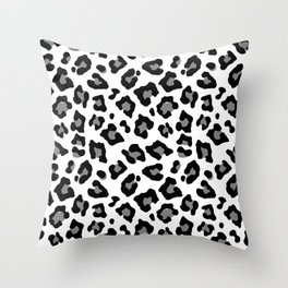 Black and White Leopard Spots Animal Print Throw Pillow