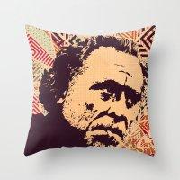 bukowski Throw Pillows featuring Bukowski by f_e_l_i_x_x