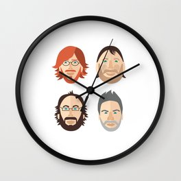 Trey, Fish, Mike, Page as Vector Characters Wall Clock