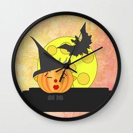 Funny kissing pumpkin head with bat and moon Wall Clock