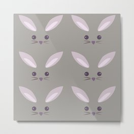 Pattern- Gray Bunny Metal Print