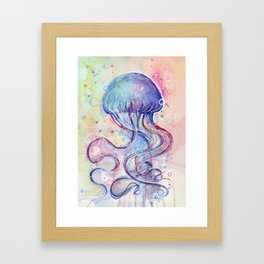 Jellyfish Watercolor Framed Art Print