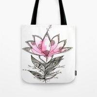 lotus flower Tote Bags featuring Lotus by Himadri Pachori